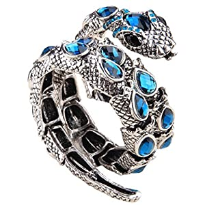 YACQ Women's Crystal Stretch Snake Bracelet Fit Wrist Size 6-1/2 to 8 Inch – Lead & Nickle Free – Halloween Costume Outfit Accessories Jewelry