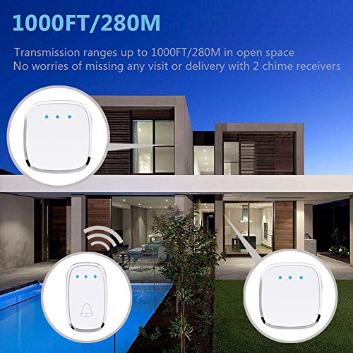 Wireless Doorbell, Foho Waterproof Long Range Doorbell Kit Operating at 1000 FT with 1 Receiver Plugin and 2 Remote Buttons, 4 Levels Volume, 36 Melodies to Choose - White by Foho (Image #1)