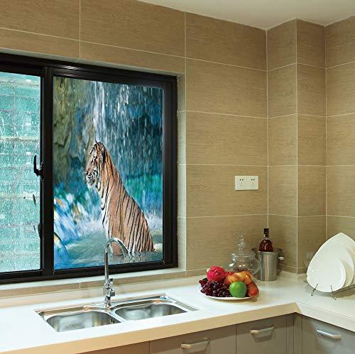 YOLIYANA 3D Antifouling Window Film,Tiger,for Toilet Bathroom Balcony,Feline Beast in Pond Searching for Prey Sumatra,24''x36''