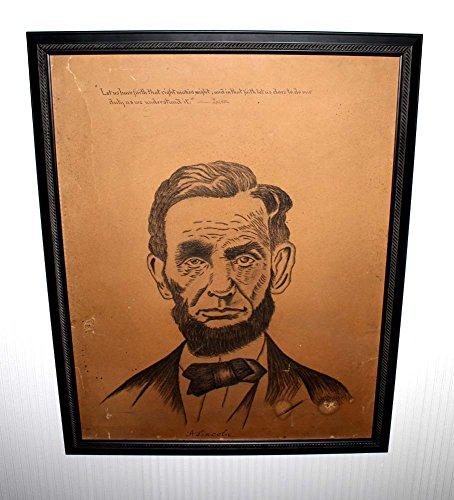 Vintage ABRAHAM LINCOLN Original ART, Graphite, Frame, Signed, 100+ Years Old!