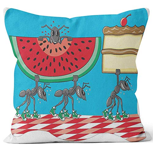 Nine City Ants Stealing Cake and Watermelon Home Decorative Throw Pillow Cover,HD Printing Square Pillow case,36