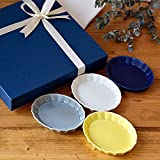 Table ware East Tableware East - Plates Gift Set -Set of 4 Small (4.7'' x 3.7'') Flower Motif Oval Plate-Bowl (shinogi) Made in Japan