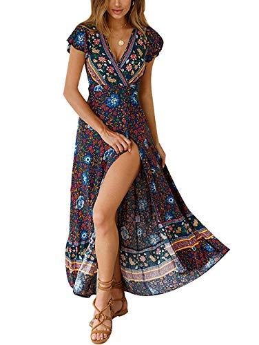 TEMOFON Women's Dresses Bohemian Floral Printed Summer Casual Short Sleeve V-Neck High Split Ethnic Maxi Dress Blue XL (High Split Maxi Dresses For Women)