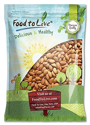 Almendras crudas por alimento para vivir (entero, sin cáscara, sin sal, a granel, kosher) (5 Libras)