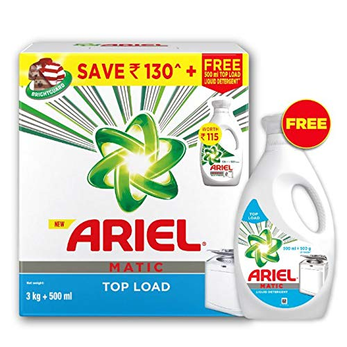Ariel Matic Top Load Detergent Combo (Powder + Liquid) – 3 KG Washing Powder with 500ml Matic Liquid Free