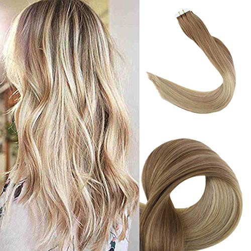 Fshine 18inch Balayage Remy Tape in Hair Extensions Color #12 Fading to #18 and #60 Glue in Extensions Human Hair 20pcs 50g (Taking Care Of Tape In Hair Extensions)