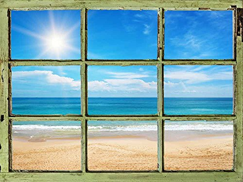 Window View Wall Mural Blue Calm Ocean under Sunny Sky Vintage Style Wall Decor Peel and Stick Adhesive Vinyl Material