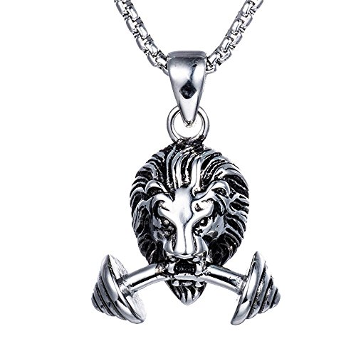 Qiao La Couple Fitness Dumbbell Stainless Power Couples Lion Head Weight Lifting Necklaces (Chain Figaro Titanium)