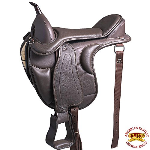 HILASON 16 Western Treeless Horse Saddle Endurance Trail Pleasure Leather