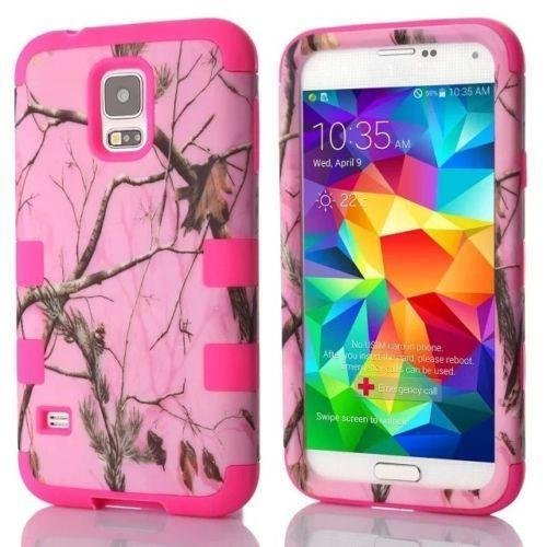 Tech Express (Tm) Mossy Oak Pink Branch Real Camo Tree 3-Piece Hybrid Impact Defender Durable Cover Case for Samsung Galaxy S5 / SV (Pink Branch) (Case Silicone Cover Zebra)