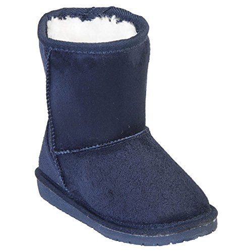 DAWGS Kids' 6 Inch Faux Shearling Microfiber, Navy, 4-5 M US Toddler