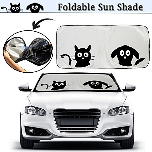 "Cartoon Car Windshield Sun Shade, 2win2buy Front Auto Car Windshield SunShade Foldable UV Rays Sun Visor Protector with Cute Pet Design to Keep Your Vehicle Cool and Damage Free - (Standard 59""x33"") …"