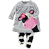 Little Girls' 2pcs Milk Cow Suit Long Tops Pants Outfits (1-2Years, Grey)