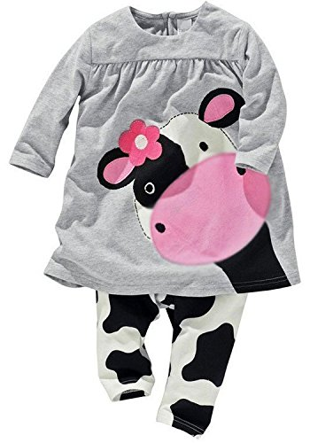 Baby Cow Outfit - Little Girls' 2pcs Milk Cow Suit Long Tops Pants Outfits (6-12Months, Grey)