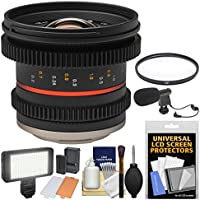Rokinon 12mm T/2.2 Cine Wide Angle Lens with UV Filter + Video Light + Microphone Kit for Olympus/Panasonic Micro 4/3 Cameras