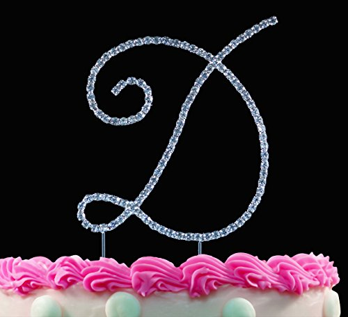 - Monogram Cake Toppers Sparkling Crystal Cake Topper Swirl Script Silver Letter by Yacanna (D)