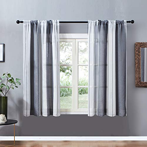 - Top Finel Sheer Curtains 45 Inch Length for Bedroom Living Room Grey Vertical Striped Rod Pocket Yarn Dyed Kitchen Window Curtains, 2 Panels