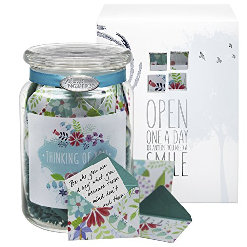 Glass KindNotes FRIENDSHIP Keepsake Gift Jar of Messages for Him or Her Birthday, Friendship Day, Just Because - Fresh Cut Floral Thinking of You