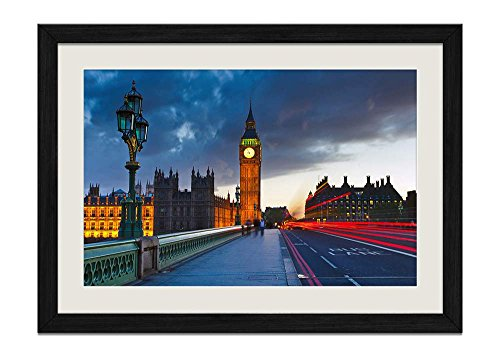CU.RONG London Wood Frame Poster Home Art Deco Picture Print Framed Painting(14x20 in Black ()