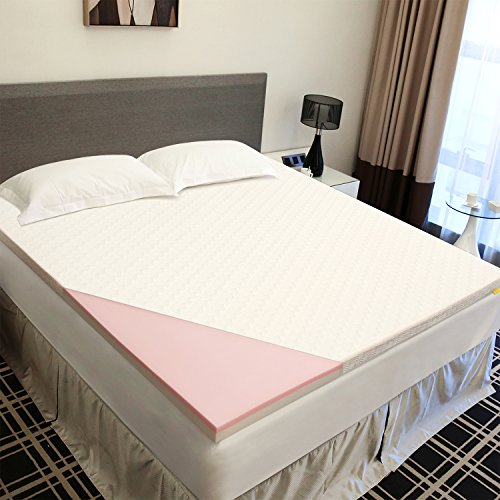 UTTU 3-Inch Red Respira Memory Foam Mattress Topper, 2-Layer Ventilated Design Bed Topper, Removable Hypoallergenic Soft Cover, CertiPUR-US – Queen Size