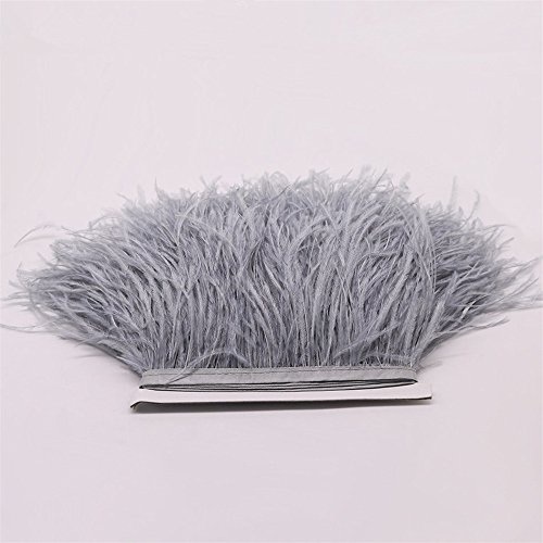 FQTANJU 2 Yards Soft & Natural Ostrich Feathers Fringe Trims Ribbon Used for Dress, Sewing, Craft clothing, lighting decoration, Clothing DIY, etc. (Silver gray) ()