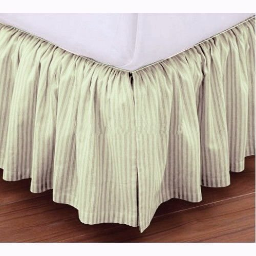Ivory Full 26' Drop - Luxury Dust Ruffle Bed Skirt Full-XL Size 26'' Drop Fall Length Ivory Striped 950TC 100%Egyptian Cotton