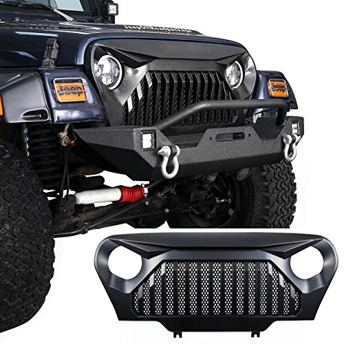 u-Box Jeep TJ Front Gladiator Vader Grille Grill Overlay Cover in Matte Black for 1997-2006 Jeep Wrangler TJ - Overlay Grill