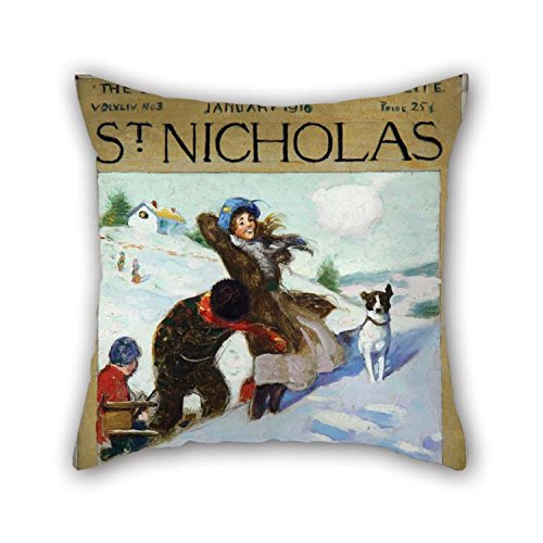 christmas-gift Oil Painting Norman Rockwell - Girl in Snow with Dog Throw Cushion Covers 20 X 20 Inches / 50 by 50 cm Best Choice for Bar Boy Friend Family Festival Father Kitchen with Two Sides]()