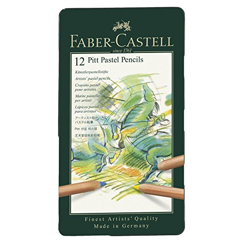 Faber-Castel FC112112 PITT Pastel Pencils In A Metal Tin (12 Pack), (Pastel Pencil)