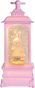 PEIDUO Lighted Easter Lantern Snow Globe Music Boxes Animated , Easter Bunny Lamp Lantern for Home Decoration, Holidays Home Decor, Tabletop Decorative and Gift,3 AA Battery or USB