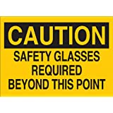 """Brady 22592 Plastic Eye Protection Sign, 7"""" X 10"""", Legend """"Safety Glasses Required Beyond This Point"""""""