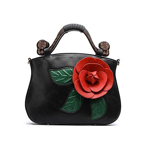 Gwqgz Package Three-dimensional Large Flower Pink Satchel Bag Black Tip