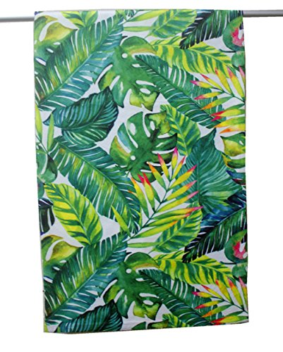 Hand Towels by Goodbath, Tropical Palm Leaves Banana Leaf Design Polyester Soft Guest Towel, 13 x 28 Inch, Green White (Banana Leaves)