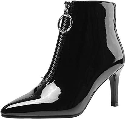 Zanpa Women Classic Block Mid Heel Ankle Boots Lace Up