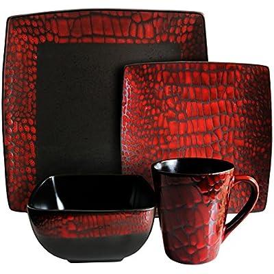 Click for American Atelier Boa 16-Piece Square Dinnerware Set, Red