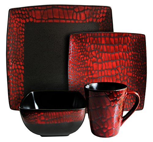 Piece 16 Square Set (American Atelier Boa 16-Piece Square Dinnerware Set, Red)