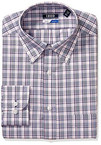 - IZOD Men's Dress Shirts Regular Fit Stretch Check, Pink/Multi, 15