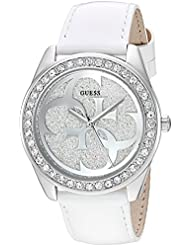 GUESS Womens Stainless Steel Crystal Leather Casual Watch, Color: White (Model: U0627L4)
