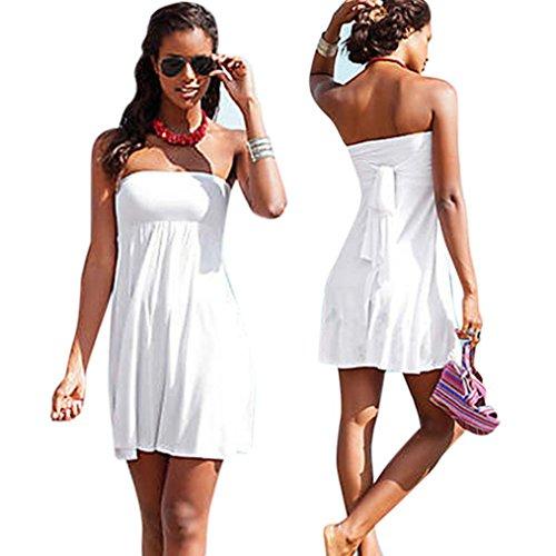 Creazy Women Fashion Sexy Push-up Wrapped Chest Dress Skirt Swimwear Swimsuit Swimdress (XL, White)