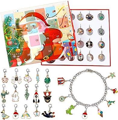 Amazon Com Lorfancy 24 Days Christmas Advent Calendar 2020 Christmas Countdown Calendar 23 Charms With Bracelet Necklace Set Fashion Jewelry For Kids Home Kitchen