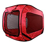 Dog Kennel Kennel Dog Canvas Pop Up Travel Cage Run Light Weight Portable Red Mesh Puppy