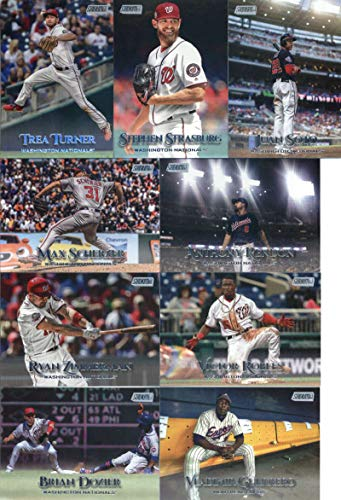 (2019 Topps Stadium Club Baseball Washington Nationals Team Set of 9 Cards: Max Scherzer(#8), Victor Robles(#214), Ryan Zimmerman(#219), Stephen Strasburg(#220), Anthony Rendon(#235), Juan Soto(#246), Brian Dozier(#261), Vladimir Guerrero(#268), Trea Turner(#280))