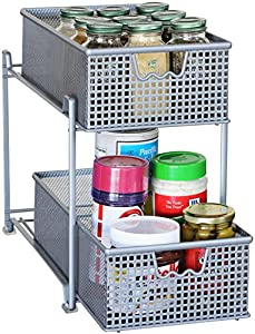 two tier kitchen drawer organizer decobros 2 tier mesh sliding cabinet basket 8609