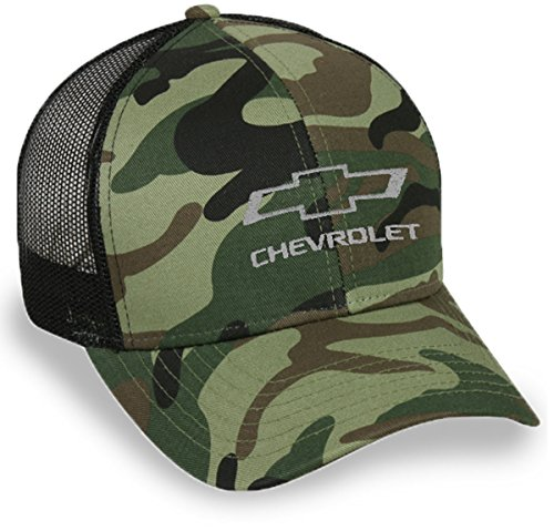 Gregs Automotive Chevrolet Camo Camouflage Bowtie Hat Cap Mesh Back Black - Bundle with Driving Style Decal ()