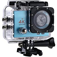 Action Camera, 16 MP 4K Full HD 1080P WiFi Waterproof Mini Sport Cam with 170 Wide-Angle Lens, 2.0 Inch LTPS Screen and Detachable Rechargeable Battery (Blue, Night Vision)