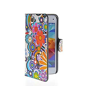 Waltzmart Flower Slim Flip Leather Wallet Card Pouch Stand Case Cover For Samasung Galaxy S5 Mini