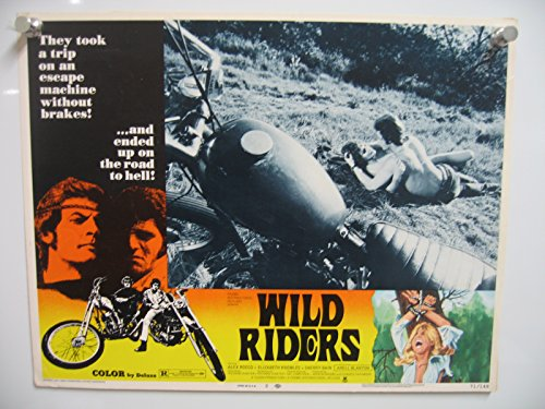 MOVIE POSTER: WILD RIDERS-#2-1971-ROMANCE SCENE NEXT TO MOTORCYCLE VG