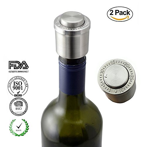Vacare Reusable Stainless Steel Vacuum Wine Bottle Caps Wine Saver Vacuum Stopper Beverage Bottle Stoppers Bottle Cork for Gifts- 2 Pack,YTS02-SS-2pack