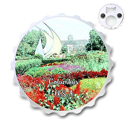 Franklin Park Columbus America USA Bottle Opener Beer Cover Shape Round Magnetic ABS Plastic Bottle Opener City Souvenir Home Kitchen Decoration Gifts ()