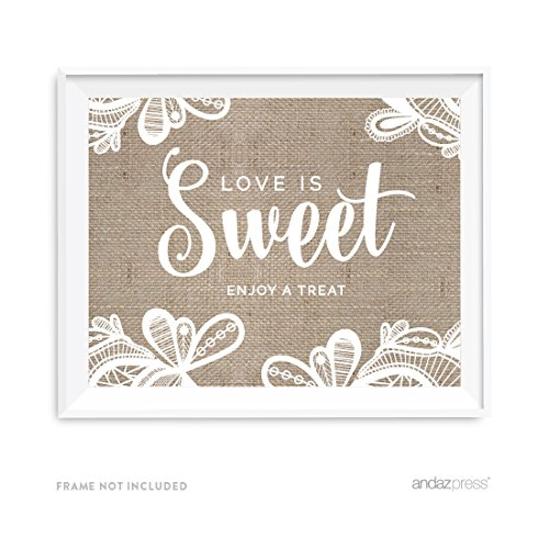 Andaz Press Burlap Lace Print Wedding Collection, Party Signs, Love is Sweet, Enjoy a Treat Dessert Table Sign, 8.5x11-inch, ()